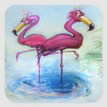 Flamingos Square Stickers