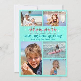 Flamingos Stars Christmas Photo Collage Flat Card