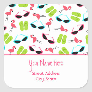 Flamingos & Sunglasses Address Sticker