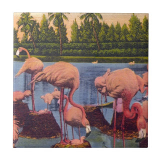 Flamingos Small Square Tile