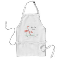 Flamingos Trio 2 Text apron