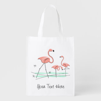 Flamingos Trio 2 'Text' reusable bag