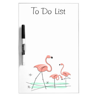 "Flamingos Trio 2 ""To Do List"" dry erase board"