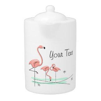 Flamingos Trio 4 Text teapot