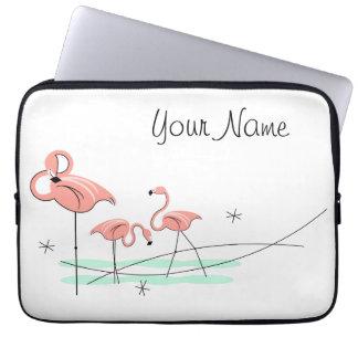 Flamingos Trio Name laptop sleeve