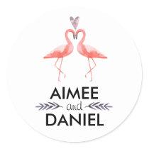 Flamingos tropical wedding   kissing pink flamingo classic round sticker