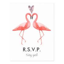 Flamingos tropical Wedding RSVP postcard template
