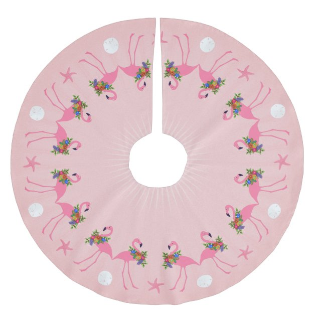 Flamingos With Wreaths Pink Christmas Brushed Polyester Tree Skirt Zazzle Com