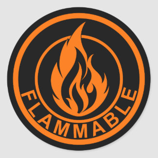 Flammable flame fire circle sticker orange black