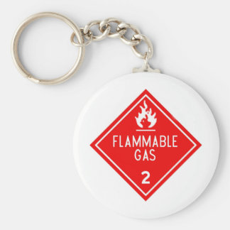 flammable gas basic round button keychain