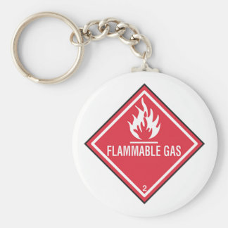 Flammable Gas Sign Keychain
