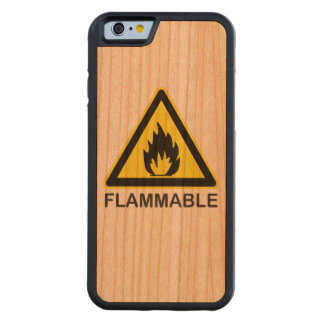 Flammable Hazard Sign Carved® Cherry iPhone 6 Bumper