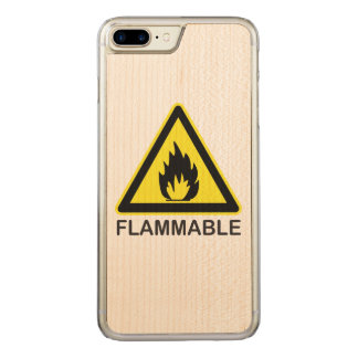 Flammable Hazard Sign Carved iPhone 7 Plus Case