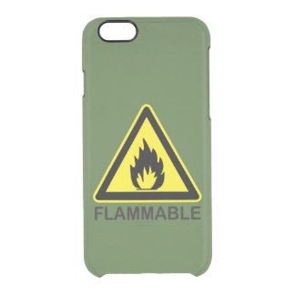 Flammable Hazard Sign Clear iPhone 6/6S Case
