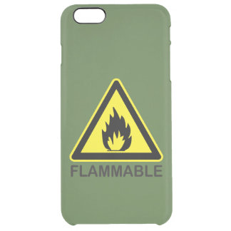 Flammable Hazard Sign Clear iPhone 6 Plus Case