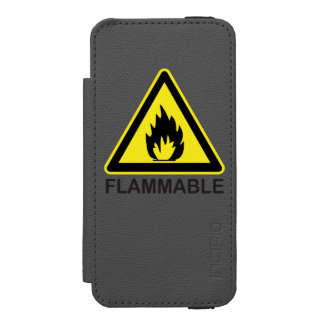 Flammable Hazard Sign Wallet Case For iPhone SE/5/5s