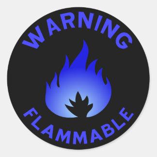Flammable Warning Sticker (blue)