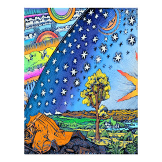 Flammarion Woodcut Flat Earth Design Square COLOR Letterhead