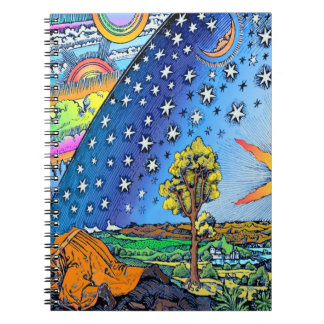 Flammarion Woodcut Flat Earth Design Square COLOR Notebook