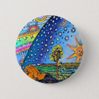 Flammarion Woodcut Flat Earth Design Square COLOR Pinback Button