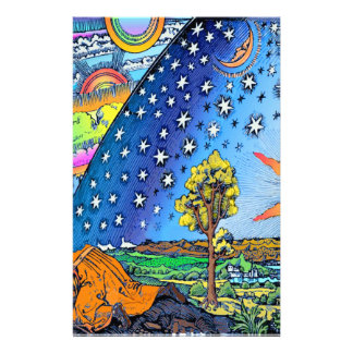 Flammarion Woodcut Flat Earth Design Square COLOR Stationery
