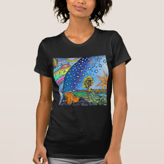 Flammarion Woodcut Flat Earth Design Square COLOR T-Shirt