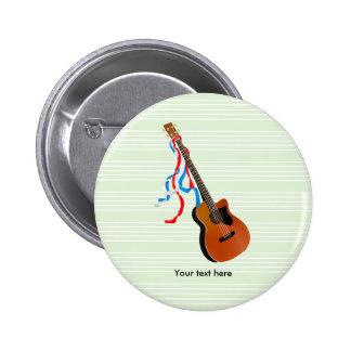 Flámulas azules blancas rojas de la guitarra baja pin redondo de 2 pulgadas