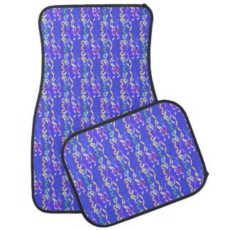 Flámulas multi del fiesta en el azul de neón alfombrilla de auto