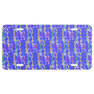 Flámulas multi del fiesta en el azul de neón placa de matrícula
