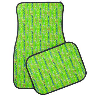 Flámulas multi del fiesta en el verde de neón alfombrilla de auto