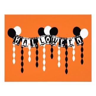 Flámulas retras del fiesta de Halloween Anuncios Personalizados