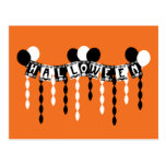 Flámulas retras del fiesta de Halloween Tarjetas Postales