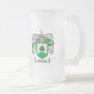 FLANAGAN FAMILY CREST -  FLANAGAN COAT OF ARMS FROSTED GLASS BEER MUG