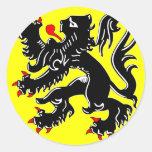 Flanders, Belgium flag Classic Round Sticker