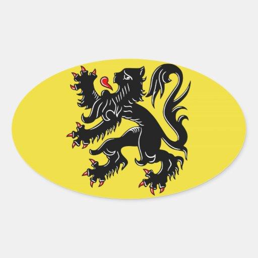 Flanders (Belgium) Flag Oval Sticker  Zazzle