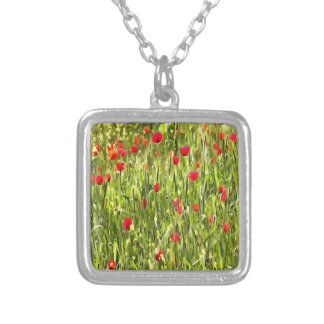 Flanders Poppies Silver Plated Necklace