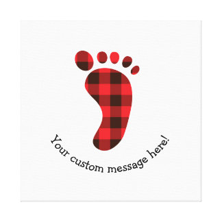 Flannel Footprint Red Checkered Icon Canvas Print