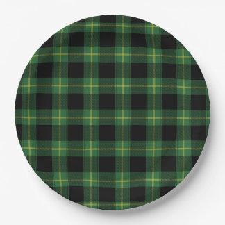 Flannel Green Buffalo Plaid Pattern Fall Autumn Paper Plate