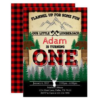 Flannel Lumberjack Birthday Party Invitation