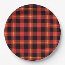 Flannel Red Buffalo Plaid Pattern Fall Autumn Art Paper Plate