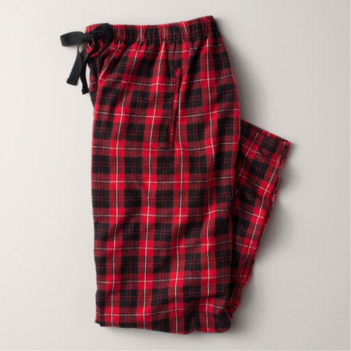 Flannel Women's Pajama Pants in Red and Black