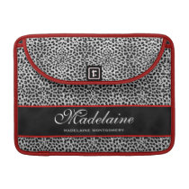 Flap Style Silver Cheetah Animal Print Sleeve For MacBook Pro