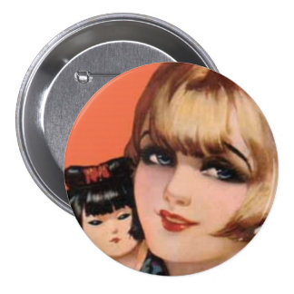 Flapper and Geisha Doll Pin