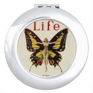 Flapper Butterfly Woman Compact Mirror