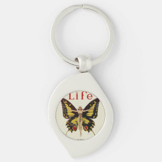 Flapper Butterfly Woman Keychain