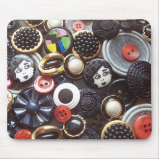 Flapper Button Collage Mouse Pad