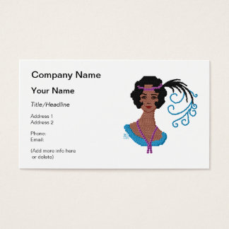 Flapper Cameo with Flowers Made of Sequins Business Card