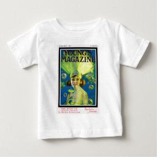 Flapper Champagne & Bubbles Antique Magazine Cover Baby T-Shirt