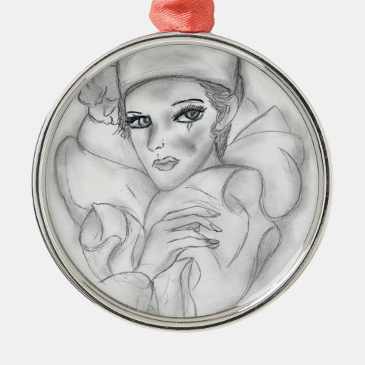 Flapper Doll Round Metal Christmas Ornament