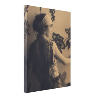 Flapper Fashion - 1920s Dress and Hair Style Stretched Canvas Print
